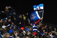 A Bath Rugby fan in the crowd waves flags in support. Gallagher Premiership match, between Bath Rugby and Sale Sharks on December 2, 2018 at the Recreation Ground in Bath, England. Photo by: Patrick Khachfe / Onside Images