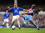 Leon Osman of Everton tackled by Nigel Reo-Coker of Aston Villa during the Premier League match at Goodison Park  Stadium, Liverpool. Picture date 27th April 2008. Picture credit should read: Simon Bellis/Sportimage