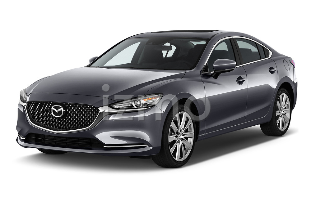 2019 Mazda Mazda6 Grand Touring Reserve 4 Door Sedan angular front stock photos of front three quarter view
