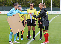 20170914 - TUBIZE ,  BELGIUM : Belgian Janice Cayman pictured with Dutch Sherida Spitse (left) during the friendly female soccer game between the Belgian Red Flames and European Champion The Netherlands , a friendly game in the preparation for the World Championship qualification round for France 2019, Thurssday 14 th September 2017 at Euro 2000 Center in Tubize , Belgium. PHOTO SPORTPIX.BE | DAVID CATRY