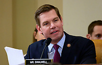 """United States Representative Eric Swalwell (Democrat of California) questions Marie """"Masha"""" Yovanovitch, former US Ambassador to Kyiv, Ukraine, on behalf of the US Department of State, as she testifies during the US House Permanent Select Committee on Intelligence public hearing as they investigate the impeachment of US President Donald J. Trump on Capitol Hill in Washington, DC on Friday, November 15, 2019. Credit: Ron Sachs / CNP/AdMedia"""