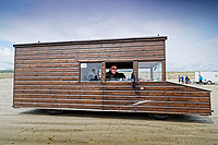 Pictured: Kevin Nicks in the driving seat of his Fastest Shed in Pendine, west Wales, UK. Saturday 12 May 2018<br /> Re: A motorised shed has broken its own land speed record on a Welsh beach as it hit over 100mph.<br /> The Fastest Shed smashed its previous 80mph (129km/h) record for the fastest shed at a land speed event at Pendine Sands in Carmarthenshire.<br /> Its owner, gardener Kevin Nicks said it was &quot;marvellous&quot; to hit 101.043mph (160 km/h) in what he said was the only road legal shed with an engine in the world.<br /> Mr Nicks, from Chipping Norton in Oxfordshire, created his bespoke shed on wheels, which now boasts a turbo-charged 450 brake horsepower turbo engine that is more powerful than many sports cars.