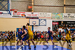 The Winning point<br /> Allan Thomas shoots to score the final pressure point to seal the win for Killorglin's Keane's Supervalu Basketball Team in the Super League match against Maree BC, Galway on Saturday