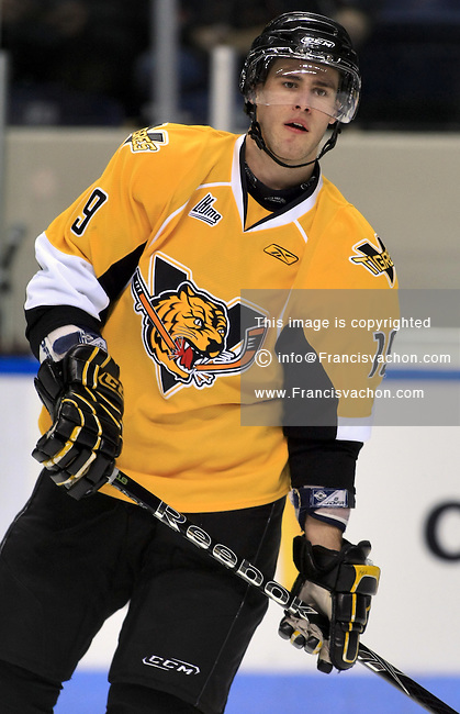 QMJHL (LHJMQ) hockey player profile photo on Victoriaville Tigres Marc-Andre Laroche December 11, 2009 at the Colisee Pepsi in Quebec city.