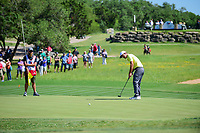 Kevin Chappell (USA) watches his birdie attempt on 16 during round 4 of the Valero Texas Open, AT&amp;T Oaks Course, TPC San Antonio, San Antonio, Texas, USA. 4/23/2017.<br /> Picture: Golffile | Ken Murray<br /> <br /> <br /> All photo usage must carry mandatory copyright credit (&copy; Golffile | Ken Murray)