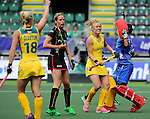 The Hague, Netherlands, June 05: Emily Hurtz #17 of Australia and Aline Fobe #4 of Belgium look on during the field hockey group match (Women - Group A) between Belgium and Australia on June 5, 2014 during the World Cup 2014 at Kyocera Stadium in The Hague, Netherlands. Final score 2:3 (1:1) (Photo by Dirk Markgraf / www.265-images.com) *** Local caption ***