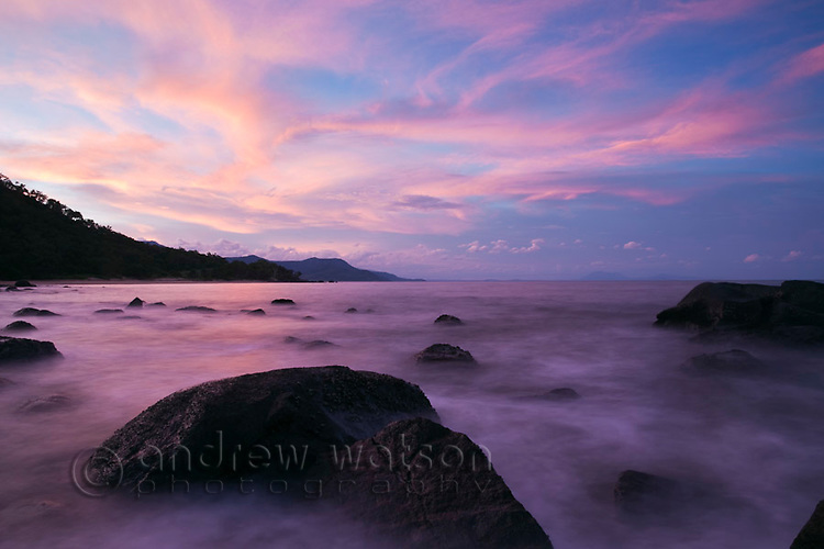 Dusk over the Coral Sea near Wangetti Beach, Cairns, Queensland, Australia