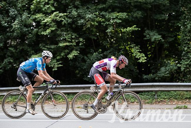 Is it cross season?: Mathieu van der Poel (NED/Beobank-Corendon) leading the way with Wout Van Aert (BEL/V&eacute;randas Willems-Crelan) tailing him<br /> <br /> Dwars door het Hageland (1.1)<br /> 1 Day Race: Aarschot &gt; Diest (194km)