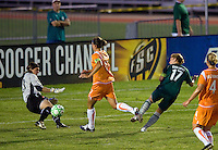 Sky Blue FC goalkeeper Jenni Branam (23) and Saint Louis Athletica midfielder Lori Chalupny (17) during a WPS match at Anheuser Busch Soccer Park, in St. Louis, MO, July 22 2009. Athletica won the match 1-0.