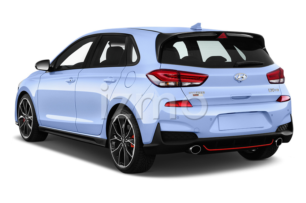 Car pictures of rear three quarter view of a 2018 Hyundai i30 N Performance Pack Select Doors Door Hatchback angular rear