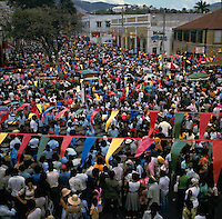 Crowds of people at carnaval, party,steel drums Charlotte Amalie St Thomas, Virgin Islands, USA Caribbean 1976