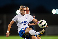 Boston Breakers forward Katie Schoepfer (12) plays the ball in front of Sky Blue FC defender Kendall Johnson (5). Sky Blue FC and the Boston Breakers played to a 0-0 tie during a National Women's Soccer League (NWSL) match at Yurcak Field in Piscataway, NJ, on July 13, 2013.