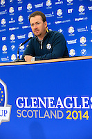 Graeme McDowell Europe press conference during Tuesday's Practice Day ahead of the 2014 Ryder Cup at Gleneagles. The 40th Ryder Cup is being played over the PGA Centenary Course at The Gleneagles Hotel, Perthshire from 26th to 28th September 2014.: Picture Eoin Clarke, www.golffile.ie: 23-Sep-14