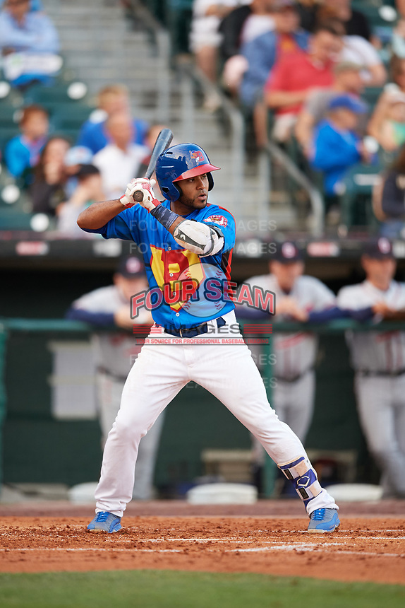Buffalo Bisons shortstop Gregorio Petit (13) at bat during a game against the Gwinnett Braves on August 19, 2017 at Coca-Cola Field in Buffalo, New York.  The Bisons wore special Superhero jerseys for Superhero Night.  Gwinnett defeated Buffalo 1-0.  (Mike Janes/Four Seam Images)