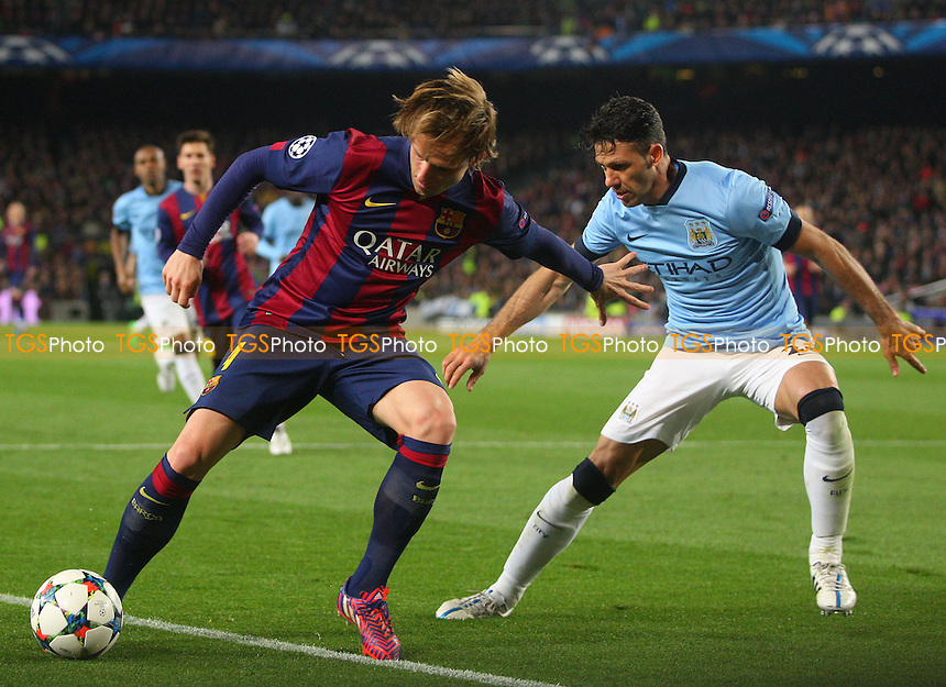Martin Demichelis of Manchester City and Ivan Rakitic of FC Barcelona - FC Barcelona vs Manchester City - European Champions League Round of Sixteen Football at the Camp Nou Stadium on  18/03/15 - MANDATORY CREDIT: Dave Simpson/TGSPHOTO - Self billing applies where appropriate - 0845 094 6026 - contact@tgsphoto.co.uk - NO UNPAID USE