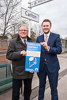 PIctured at Carlton Station for the launch of the new Castle Line Timetable from left are Cllr John Clarke, Leader of Gedling Borough Council (left) and Malcolm Payne, Deputy Leader.