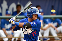 Kelvin Ramos (17) of the Ogden Raptors at bat against the Orem Owlz in Pioneer League action at Lindquist Field on June 27, 2014 in Ogden, Utah.  (Stephen Smith/Four Seam Images)