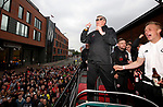 Chris Wilder manager of Sheffield Utd borrows Simon Moore's glasses during the open top bus parade from Bramall Lane Stadium to Sheffield Town Hall, Sheffield. Picture date: May 2nd 2017. Pic credit should read: Simon Bellis/Sportimage