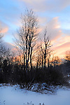 Winter Sunset over the Ashuelot River in Rural Marlow, New Hampshire