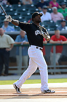 Jackson Generals outfielder Joe Dunigan #15 swings at a pitch during Home Run Derby before the Southern League All-Star Game  at Smokies Park on June 19, 2012 in Kodak, Tennessee.  The South Division defeated the North Division 6-2. (Tony Farlow/Four Seam Images).