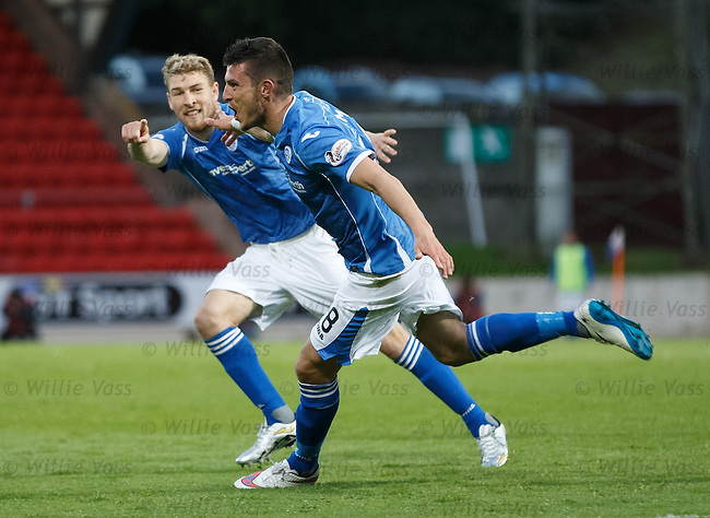 Graham Cummins celebrates his goal for St Johnstone