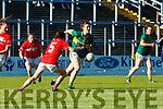 Lorraine Scanlon Kerry launches another Kerry attack with Melissa Duggan  Cork tracking her during their Munster Championship clash in Fitzgerald Stadium on Saturday evening