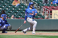 Round Rock Express third baseman Joey Gallo (13) swings against the Omaha Storm Chasers at Werner Park on April 12, 2016 in Omaha, Nebraska.  The Express won 6-4.  (Dennis Hubbard/Four Seam Images)