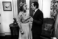 October 1966. Manhattan, NYC. Bette Davis congratulates Charles Aznavour after his performace at the Garry Moore Show at the CBS Studio 50.
