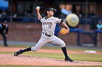 Asheville Tourists starting pitcher Luis Cedeno (12) delivers a pitch during a game against the Charleston RiverDogs on April 30, 2015 in Asheville, North Carolina. The RiverDogs defeated the Tourists 5-4. (Tony Farlow/Four Seam Images)