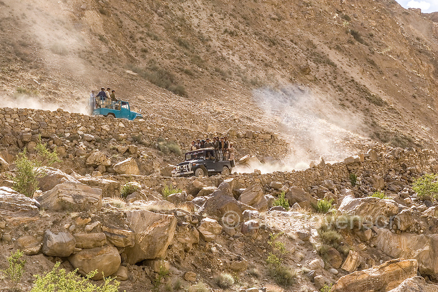 Two jeeps on the road to Askole in Pakistan