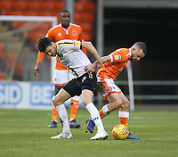 Blackpool's Jay Spearing battles with Burton Albion's Scott Fraser<br /> <br /> Photographer Stephen White/CameraSport<br /> <br /> The EFL Sky Bet League One - Blackpool v Burton Albion - Saturday 24th November 2018 - Bloomfield Road - Blackpool<br /> <br /> World Copyright © 2018 CameraSport. All rights reserved. 43 Linden Ave. Countesthorpe. Leicester. England. LE8 5PG - Tel: +44 (0) 116 277 4147 - admin@camerasport.com - www.camerasport.com