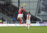 Fredrik Brustad and Jack Baird challenge in the air in the St Mirren v Hamilton Academical Scottish Professional Football League Ladbrokes Premiership match played at the Simple Digital Arena, Paisley on 1.12.18.