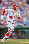 15 June 2016: Washington Nationals shortstop Stephen Drew watches the trajectory of his 8th inning, pinch hit solo home run against the Chicago Cubs at Nationals Park in Washington, DC. The Nationals defeated the Cubs 5-4 in 12 innings to take the rubber match of their 3-game series. Mandatory Credit: Ed Wolfstein Photo *** RAW (NEF) Image File Available ***
