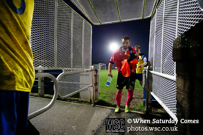 Players head back to the dressing rooms at full time. Stocksbridge Park Steels v Pickering Town, Evo-Stik East Division, 17th November 2018. Stocksbridge Park Steels were born from the works team of the local British Steel plant that dominates the town north of Sheffield.<br />