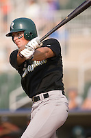 Michael Parker (5) of the Savannah Sand Gnats at bat at Fieldcrest Cannon Stadium in Kannapolis, NC, Sunday July 20, 2008. (Photo by Brian Westerholt / Four Seam Images)