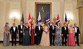 U.S. President Barack Obama and First Lady Michelle Obama (C) pose with Nordic leaders and their spouses (L-R) Solrun Lokke Rasmussen (spouse), Denmark's Prime Minister Lars Lokke Rasmussen, Norway's Prime Minister Erna Solberg, Sindre Finnes (spouse), Ingibjorg Elsa Ingjaldsdottir (spouse), Iceland's Prime Minister Sigurdur Ingi Johannson, Jenni Haukio (spouse), Finland's President Sauli Niinisto and Ulla Lofven (spouse), Sweden's Prime Minister Stefan Lofven,prior to a State Dinner at the White House, May 13, 2016, in Washington, DC.           <br /> Credit: Mike Theiler / Pool via CNP