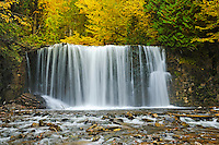 Boyne River at Hoggs Falls in autumn<br /> Near Flesherton<br /> Ontario<br /> Canada