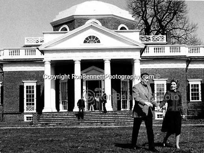 President and Mrs. Ronald Reagan at Monticelo the estate of Thomas Jefferson Charlottesville Virginia, Declaration of Independence, third President of the United States and founder of University of Virginia,