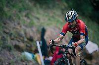 Ion Izagirre (ESP/Bahrain-Merida) up the final climb of the day (in Spain!): the Col du Portillon (Cat1/1292m)<br /> <br /> Stage 16: Carcassonne &gt; Bagn&egrave;res-de-Luchon (218km)<br /> <br /> 105th Tour de France 2018<br /> &copy;kramon