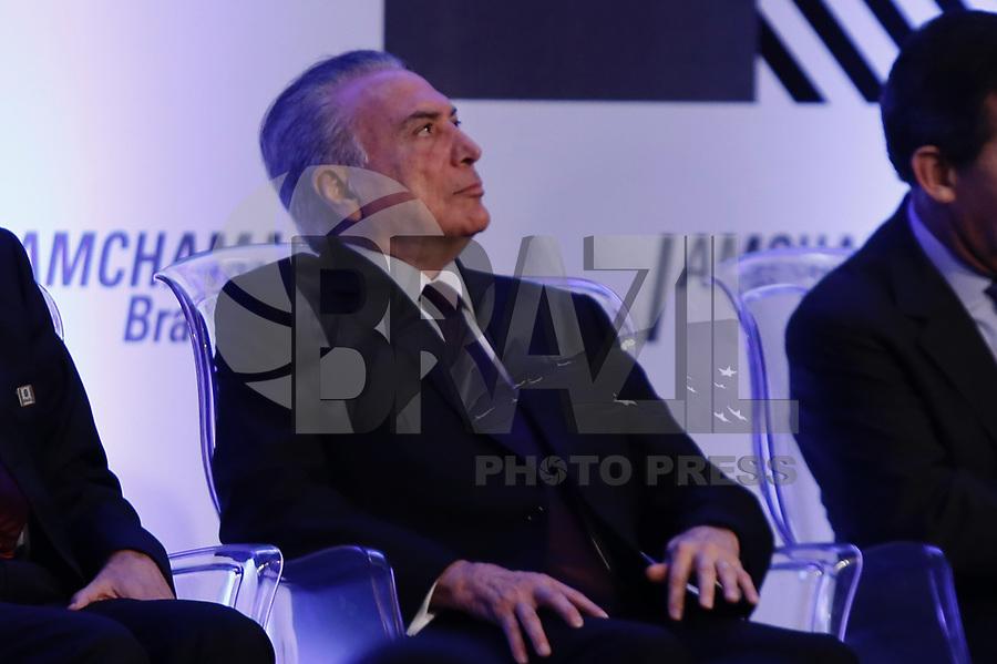 SÃO PAULO, SP, 20-03-2017 - TEMER-SP - O presidente da republica Michel Temer durante cerimônia de posse do novo conselho da Amcham Brasil, na sede da empresa na zona sul de São Paulo, na manhã desta segunda-feira, 20 (Foto: Adriana Spaca/Brazil Photo Press)