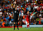 Referee Craig Pawson reacts during the premier league match at Anfield Stadium, Liverpool. Picture date 27th August 2017. Picture credit should read: Paul Thomas/Sportimage