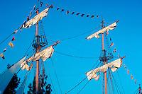Tall Ship, Schooner, Disneyland, Ca, USA, Sailing, Southern California, Yacht, Transportation