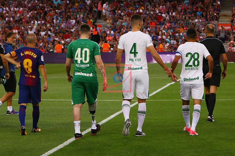 52e Trofeu Joan Gamper.<br /> FC Barcelona vs Chapecoense: 5-0.<br /> Andres Iniesta, Jackson Follman, Helio Neto &amp; Alan Ruschel.