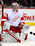21 November 2009: Detroit Red Wings' goaltender Jimmy Howard warms up prior to a game against the Montreal Canadiens at the Bell Centre in Montreal, Quebec, Canada. The Canadiens, wearing their original 1909-10 throwback jerseys, dropped the game to the Red Wings in a shootout 3-2 in their Original Six matchup. Mandatory Credit: Ed Wolfstein Photo