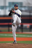 April 11, 2008:  University of Michigan Wolverines starting pitcher Zack Putnam (3) against the University of Illinois Fighting Illini at Illinois Field in Champaign, IL.  Photo by:  Chris Proctor/Four Seam Images