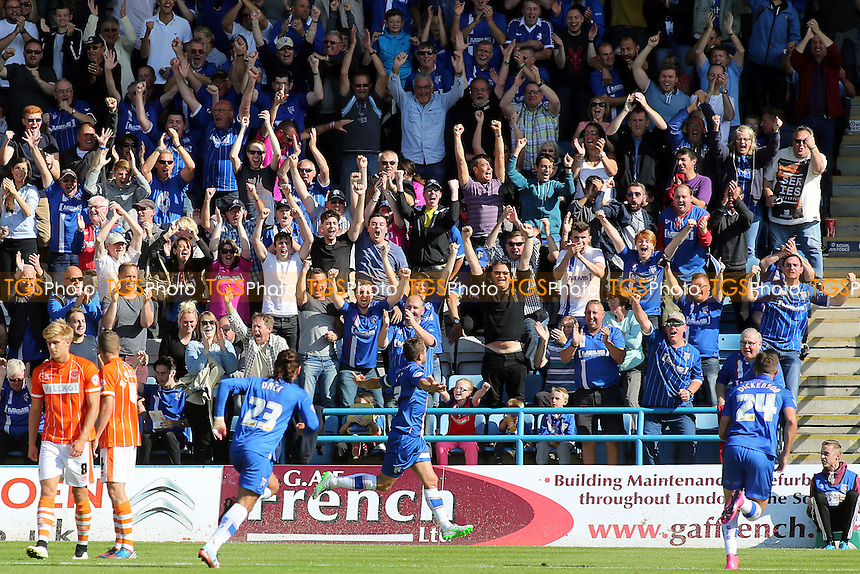 Gillingham fans celebrate their opening goal scored by Doug Loft during Gillingham vs Blackpool, Sky Bet League 1 Football at the MEMS Priestfield Stadium, Gillingham, England on 12/09/2015