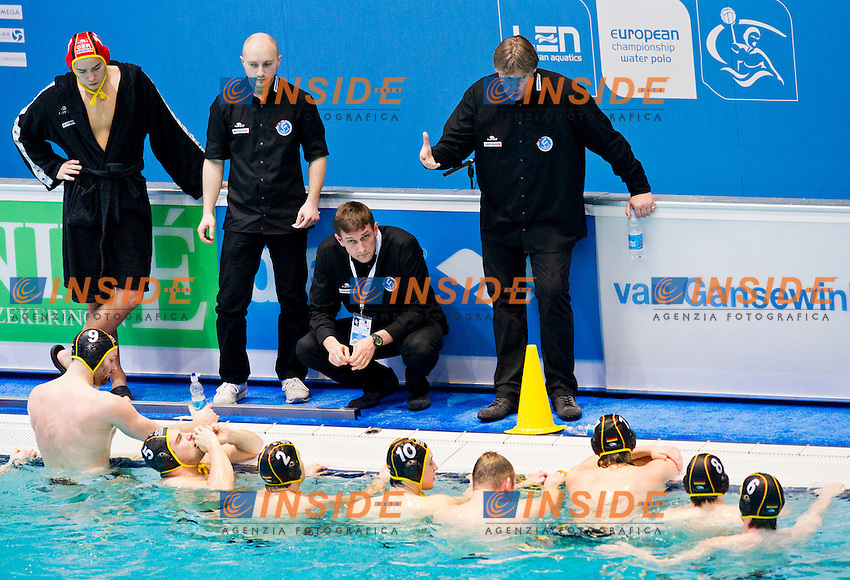 Eindhoven , Netherlands (NED) 17/1/2012.LEN European  Water Polo Championships 2012.Day 02 .Serbia Vs Germany..SRB.1.SORO Slobodan..2.SAPONJIC Aleksa..3.GOCIC Zivko..4.UDOVICIC Vanja..5.CUK Milos..6.PIJETLOVIC Dusko..7.NIKIC Slobodan..8.ALEKSIC Milan..9.RADJEN Nikola..10.FILIPOVIC Filip.11.PRLAINOVIC Andrija..12.MITROVIC Stefan..13.MITROVIC Branislav..GER.1 TCHIGIR Alexander.2 WOLLTHAN Tim.3 SCHROEDTER Fabian.4 REAL Julian.5 ST AMM Marko.6 POLITZE Marc.7 BUKOWSKI Erik.8 SCHUELER Paul..9 KREUZMANN Tobias.10 OELER Moritz.11 SCHLOTTERBECK Andreas .12 ROE√üING Sven.13 KONG Roger...Photo Insidefoto / Giorgio Scala