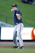 Gwinnett Braves third baseman Shawn Bowman #29 throws to first during a game against the Rochester Red Wings at Frontier Field on May 5, 2011 in Rochester, New York.  Rochester defeated Gwinnett by the score of 3-2.  Photo By Mike Janes/Four Seam Images