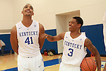 Trey Lyles and Tyler Ulis laugh at at men's basketball media day in Lexington, Ky., on Thursday, September 4, 2014. Photo by Emily Wuetcher | Staff