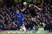 Harry Maguire of Leicester city and Alvaro Morata of Chelsea during Chelsea vs Leicester City, Premier League Football at Stamford Bridge on 13th January 2018